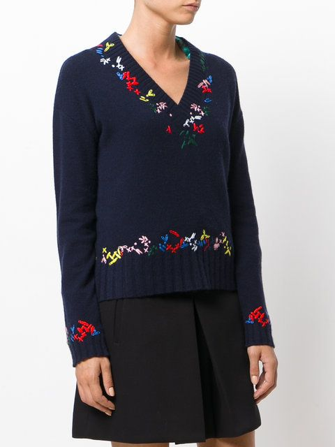Love Moschino V-neck embroidered jumper