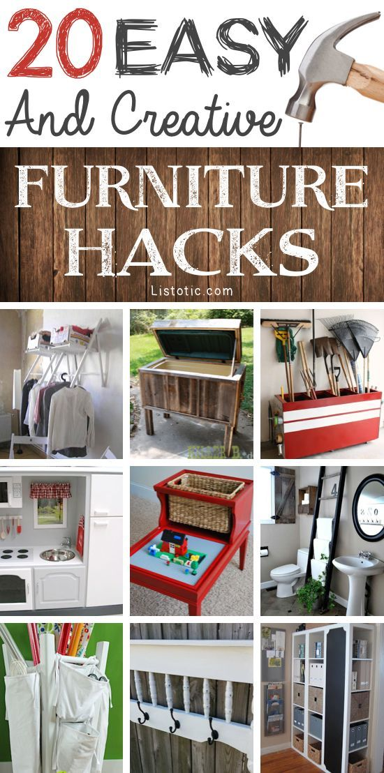 An AWESOME list of easy DIY furniture hacks! This makes me want to go thrift shopping.