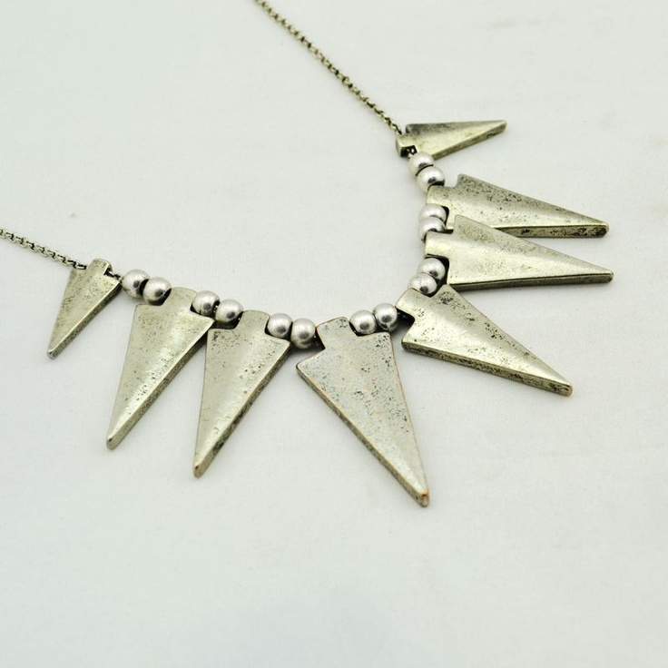 28. Silver punk spikes necklace  $7