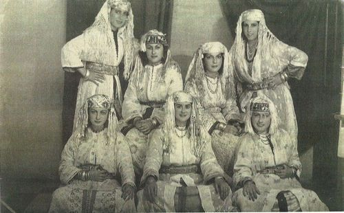 Riffian women of the Ait Waryagher tribe with traditional dresses (Al Hoceima area)