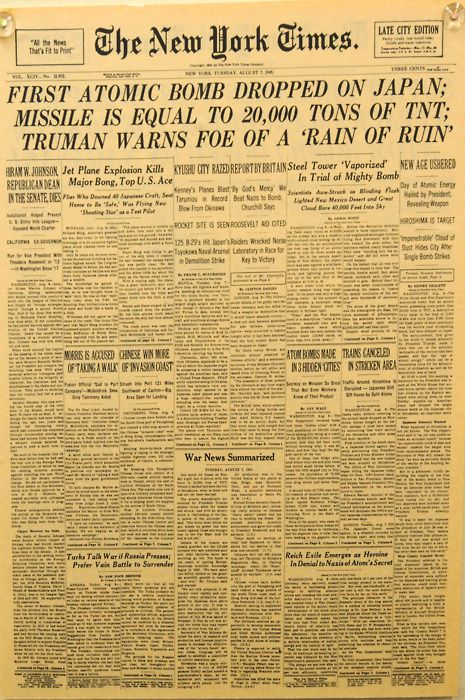 August 7, 1945: The headlines the day after the Little Boywas dropped.