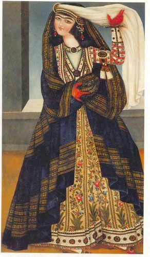 زن با روبند، منتسب به محمد، ایران، حدود ۱۸۴۵، رنگ و روغن روی بوم، ۸۱*۱۴۵