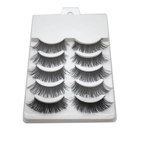 818edee5657 5 Pairs/Set Handmade Charming Soft Makeup Cross Thick Black Long False  Eyelashes Natural Fake Eye Lashes Extension Tools