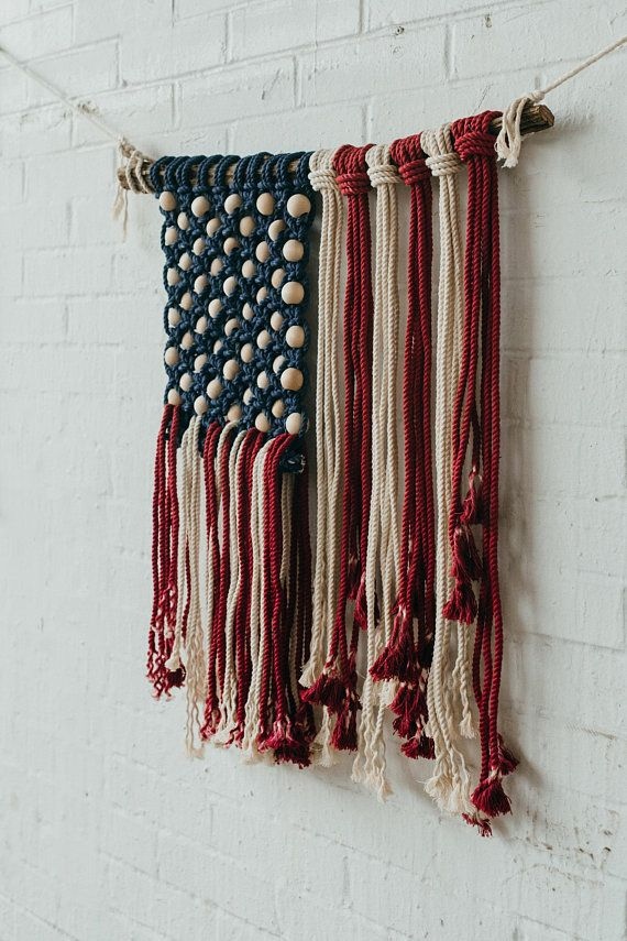 American Flag Wall Hanging macrame art