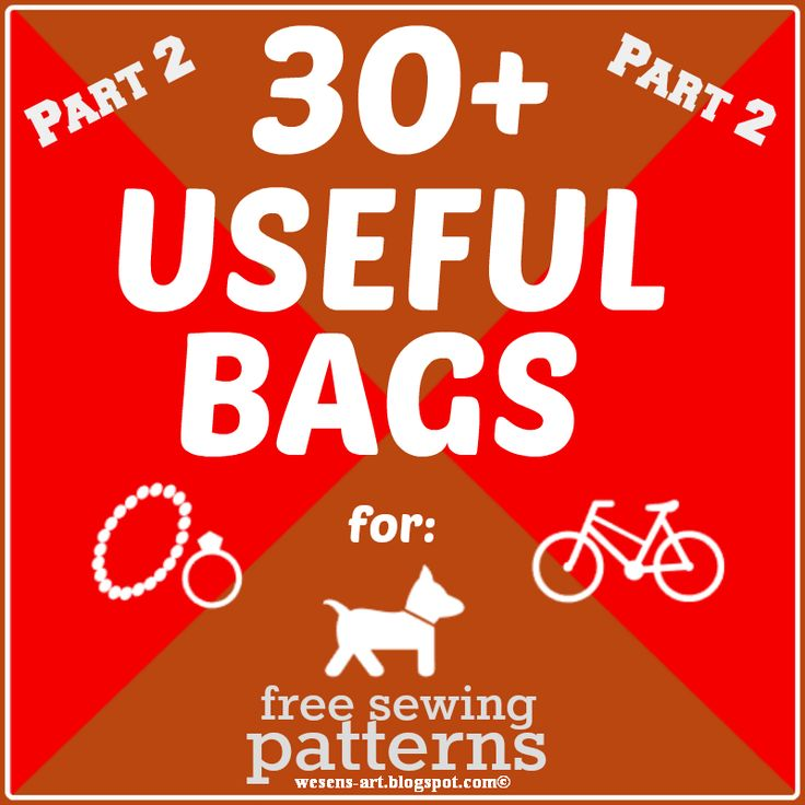 more than 30 free sewing patterns for useful bags - for jewelry, bikes, wheelchairs, dogs