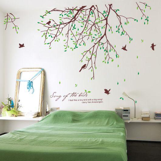 Nova chegada da primavera bud folhas fresco rústico parede tv grande adesivos de parede decoração