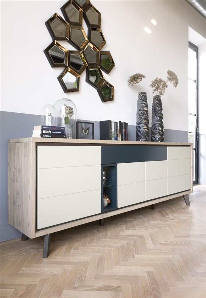This beautiful Jade sideboard combines wood with colours Vulcano Ivory and Petrol.