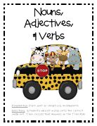 Nouns, Adjectives, and Verbs: Teacher Printable, Google Doc