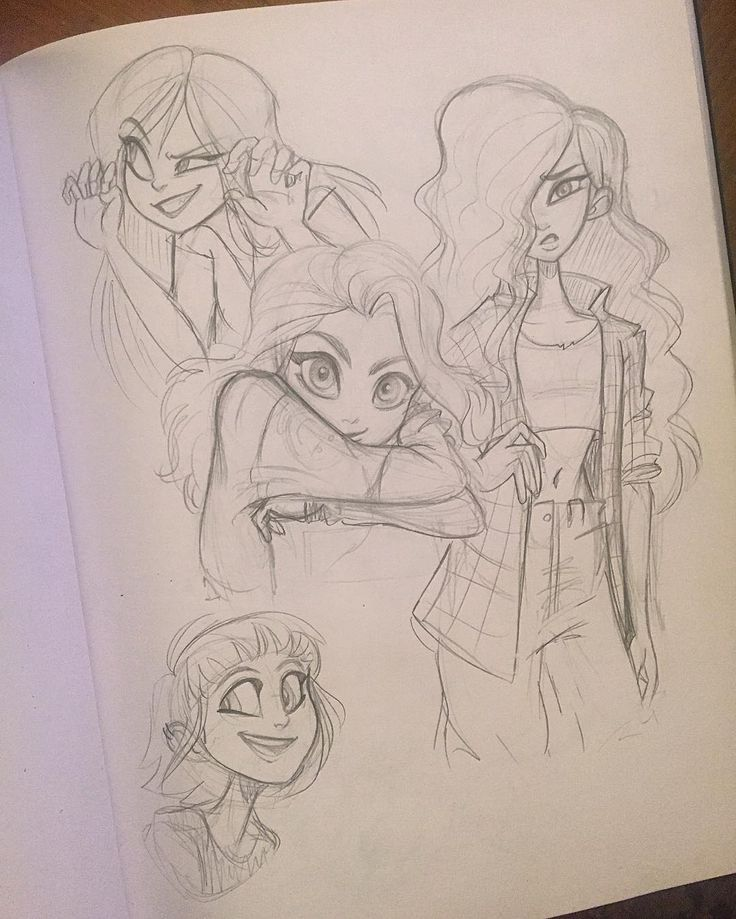 Last night's sketches ✏️ (Yes, the girl on the right is Debbie from The Wild Thornberries ) #characterdesign #fanart