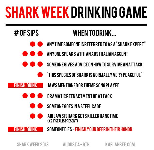 How to throw an Epic Shark Week party. Including the Shark Week Drinking Game -
