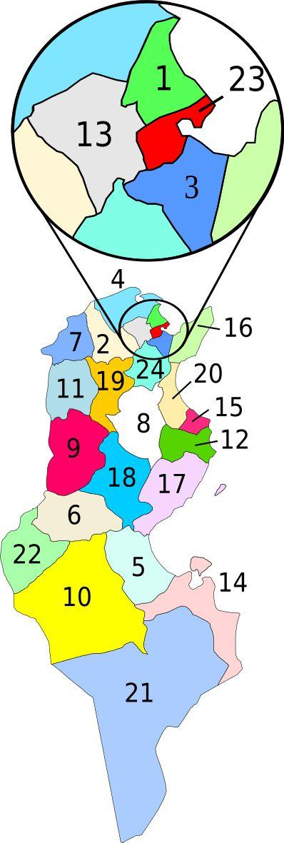 Governorates of Tunisia - Géographie de la Tunisie — Wikipédia