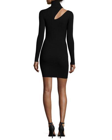 West Long-Sleeve Slit-Shoulder Fitted Sweater Dress