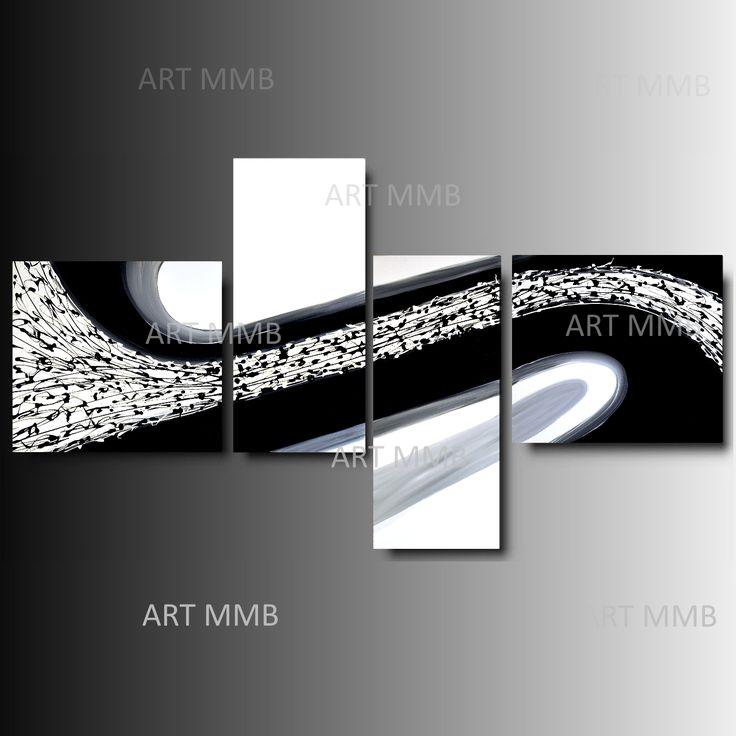 Produzione Quadri moderni astratti - 100% dipinti a mano. 4 Quadri Moderni Astratti Toni del grigio bianco e nero