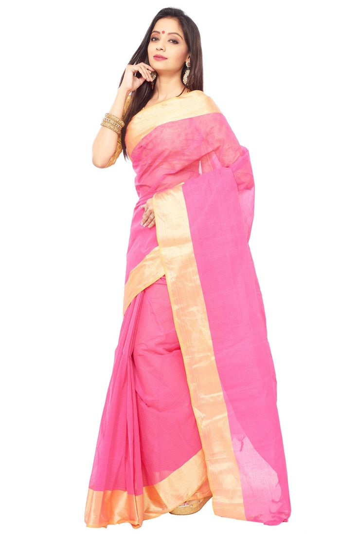 Pink color bangal cotton saree with golden Zori Broder and unstitched blouse piece WITH Handloom mark