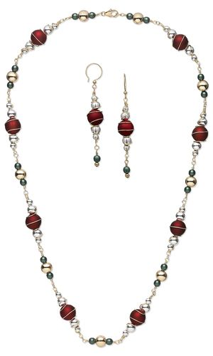 Necklace and Earring Set with Rubberized Acrylic Beads, Metal Beads, Czech Pressed Glass Beads and Wire Wrap by Rose Wingenbach. #Christmasjewelry