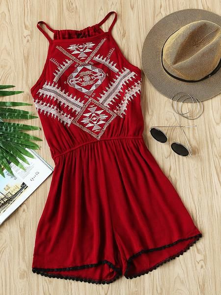 Burgundy Aztec Embroidered Sleeveless Tie Back Pleated Romper