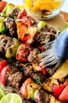 Brazilian Steak Kabobs with Potatoes, Onions and Peppers- Oh my goodness, these were just as good as any Brazilian Steakhouse! So crazy juicy, exploding with flavor and super easy!
