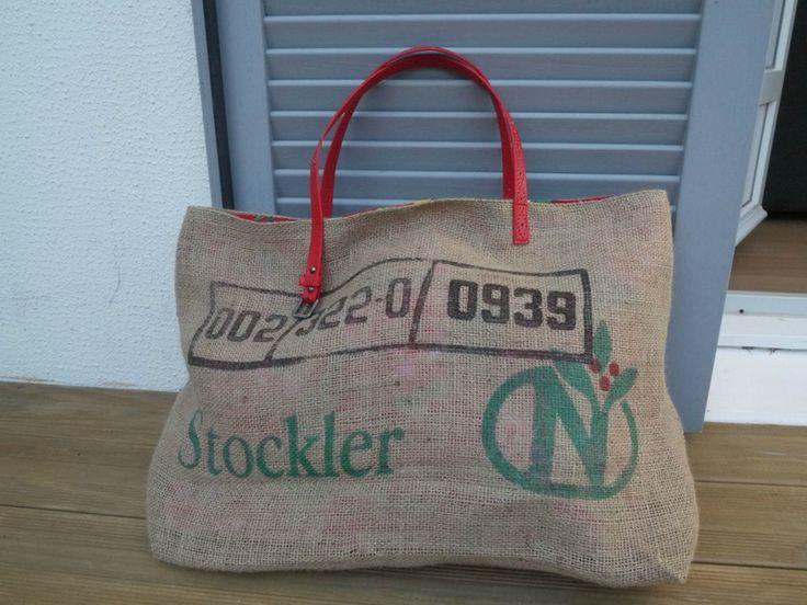 Cabas tote bag sac de plage réalisé avec un sac à cafés do Brasil réversible tissu chinois populaire -