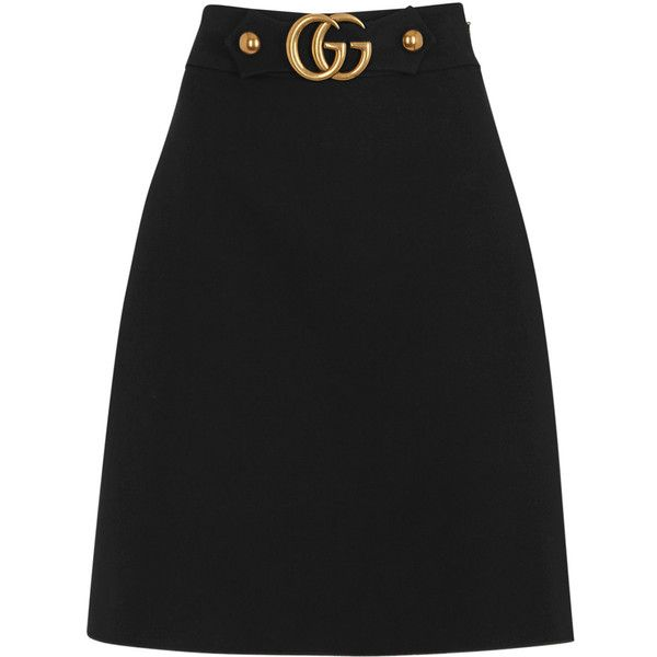 Gucci Black wool and silk blend A-line skirt (£610) ❤ liked on Polyvore featuring skirts, bottoms, knee length a line skirt, a-line skirts, gucci, wool skirt and woolen skirt