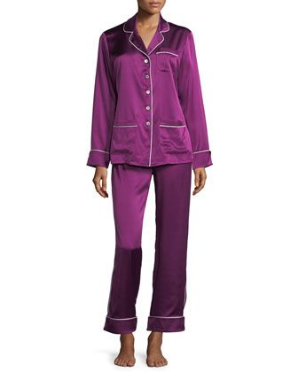 Coco+Mulberry+Long+Silk+Pajama+Set+by+Olivia+Von+Halle+at+Neiman+Marcus.