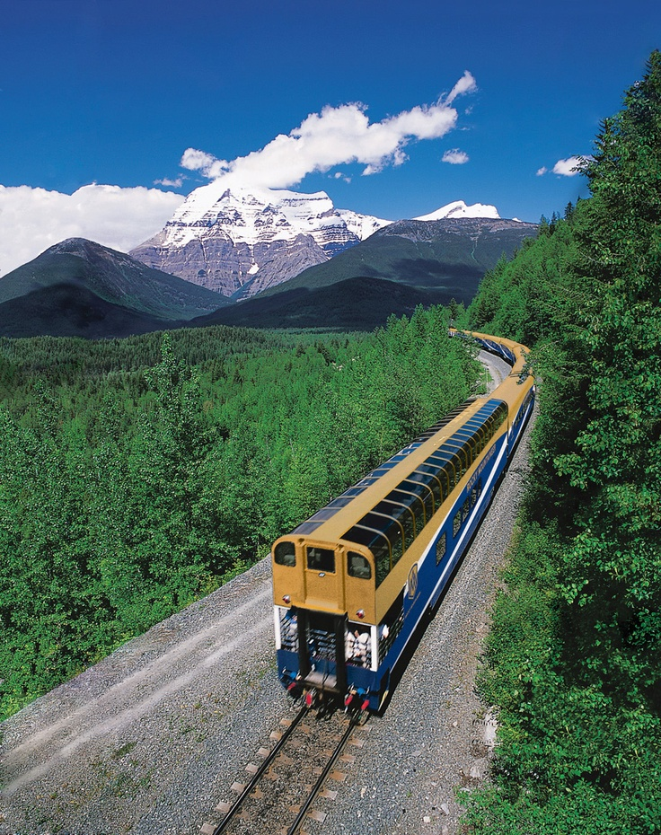 Train near Mount Robson Alberta, Journey through the Clouds route Get there with Adventure World travel...  www.adventureworld.co.nz