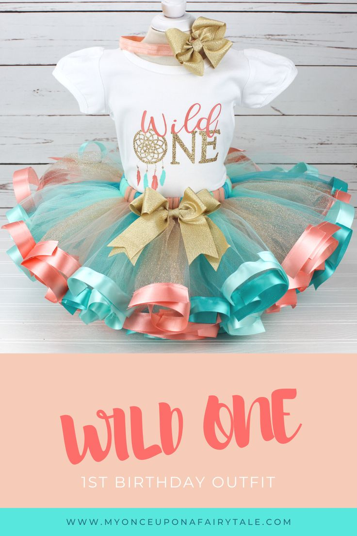 Wild One 1st Birthday Tutu Outfit for Girl Peach, Aqua