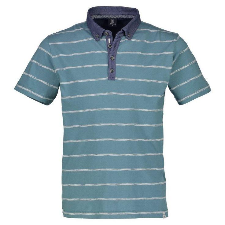 LERROS Button-Down-Poloshirt für 39,99€. Knopfleiste und Kragen, farblich abgesetzt, gewebter Streifen, Button-Down-Kragen, 100% Baumwolle, MODERN FIT bei OTTO