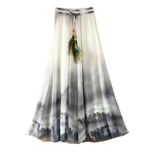2017 del verano de bohemia falda larga de gasa vintage impresión elegante saia longa faldas largas maxi faldas de las mujeres ropa casual de las señoras