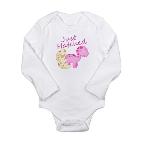 Just hatched baby onsie for a newborn with a cute pink baby dinosaur. :)