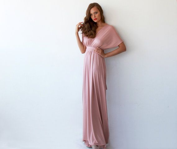 Portland Prom Pink Salmon Bat Sleeve Maxi Dress by BLUSHFASHION on Etsy, $129.00