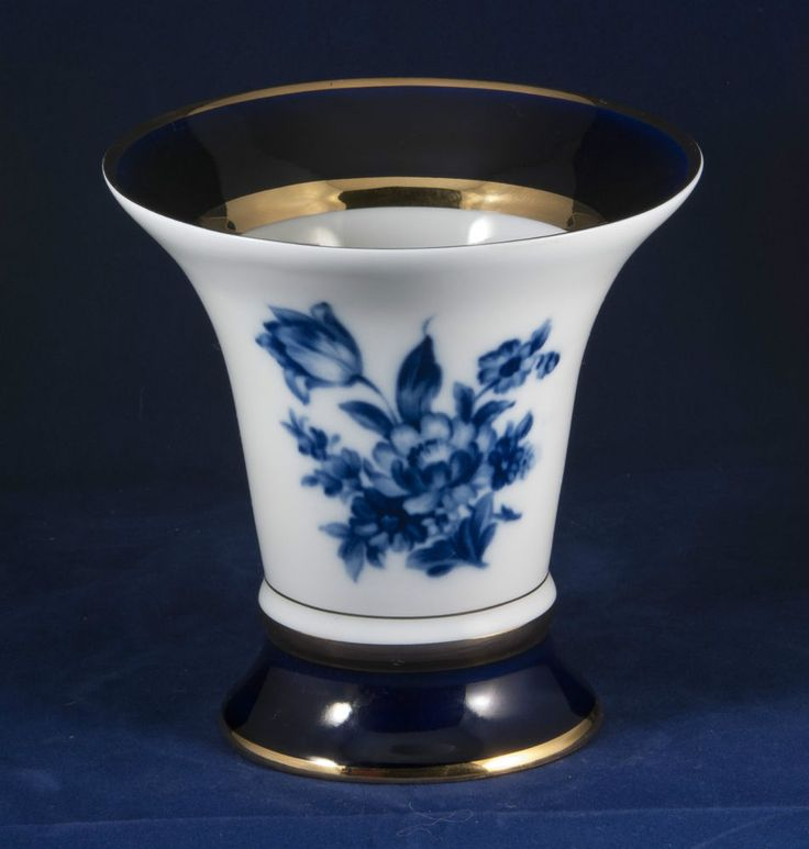Royal Dux Bohemia Cobalt Blue Floral Design Porcelain Decorative Trumpet Vase
