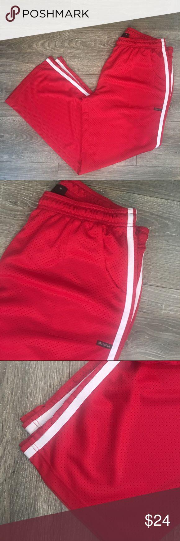 Athleta mesh warm up basketball pants Women's Athleta Size XL Red mesh (perforated fabric) Warm up/athletic pants- basketball style JT009 Athleta Pants Track Pants & Joggers