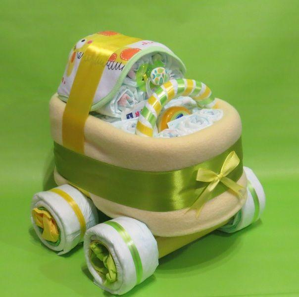 Windeltorten - ♦♦ Schöner Windelkinderwagen gelb/grün ♦♦ - ein Designerstück von Geschenketorten-Gebhardt bei DaWanda