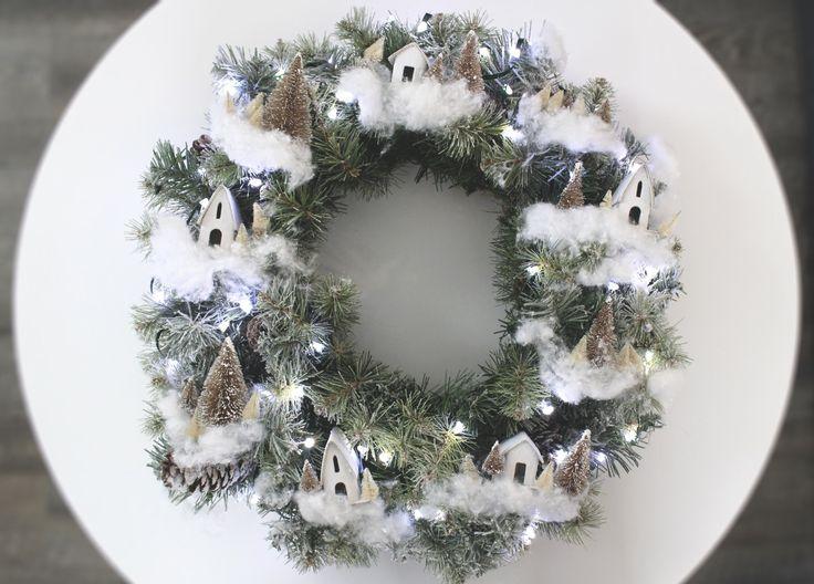 Martha Stewart Inspired Magical Christmas Village Themed Wreath  #marthastewart #wreath #magicalchristmasvillage