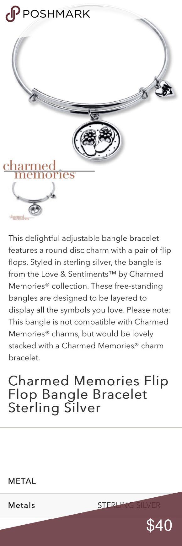 Kay charmed memories bangle bracelet - Brand New Sterling Silver Flipflop Bangle Bracelet Kay Jewelers Bangle And Sterling Silver