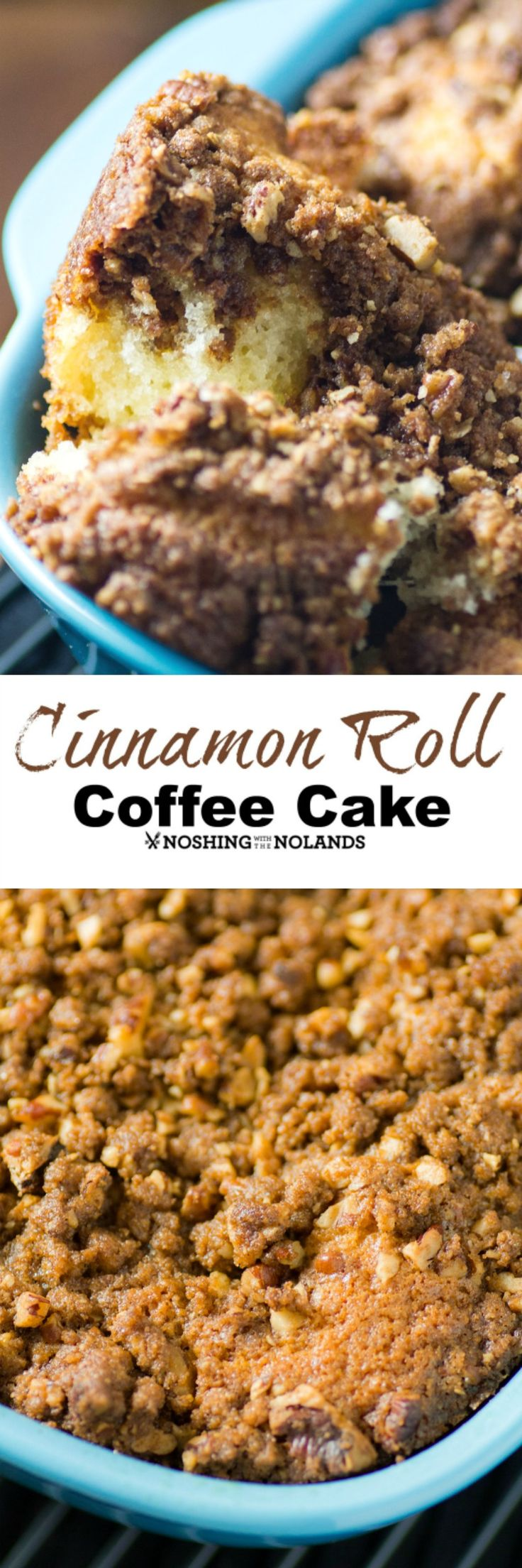 Cinnamon Roll Coffee Cake by Noshing With The Nolands is so moist and delicious with a crunchy streusel topping. Try serving this warm from the oven any time of day.