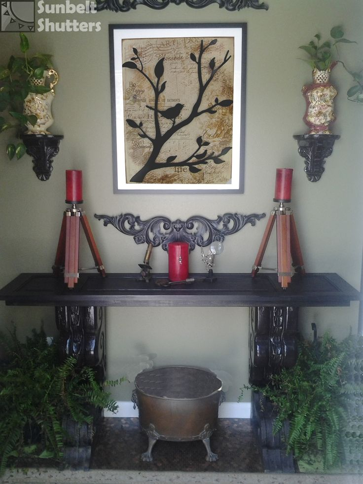 DIY Hall Table: Raised Panel Shutter Used As A Table Top On Top Of Re