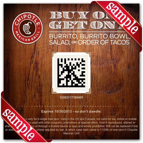Printable chipotle mexican grill Coupon June 2015