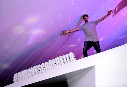 Patrick Schwarzenegger went king kong in the H&M tent on the grounds. 2015