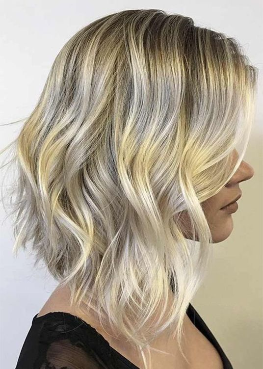 A-Line with Ombre Hair Colors for Mid Length Hairstyles 2018