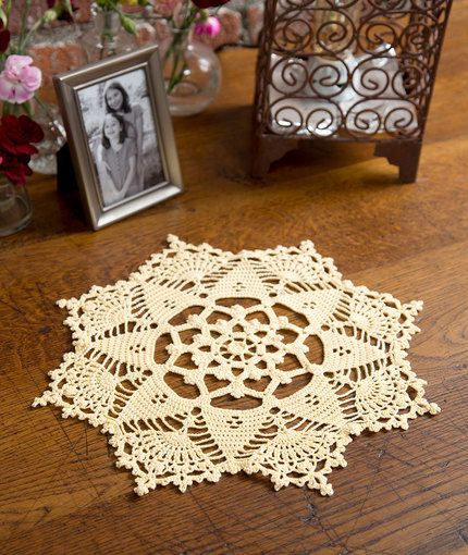 "Starshine Doily or motif -- 14"" across when made using the yarn specified in the pattern."