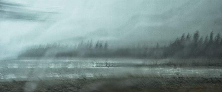 Kimberley French: on the way to Charlotte, Haida Gwaii, 2014 Photograph on Wood with Resin,  Original 30˝ × 72˝ AP 15˝× 36˝