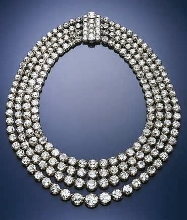 Diamond four strand rivière. Formerly in the collection of the Princes Von Thurn Und Taxis.
