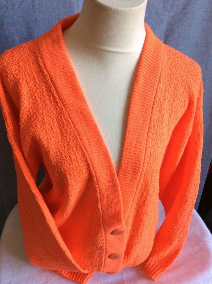 Vintage Ladies/Men Chunky Fluorescent Orange Button Down Cardigan Punk Sweater | Clothing, Shoes & Accessories, Vintage, Women's Vintage Clothing | eBay!