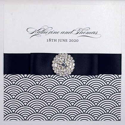 Square Folding Wedding Invitation With Wave Pattern, Double Ribbon And Diamante Cluster - Available in more than 50 colours -www.kardella.com