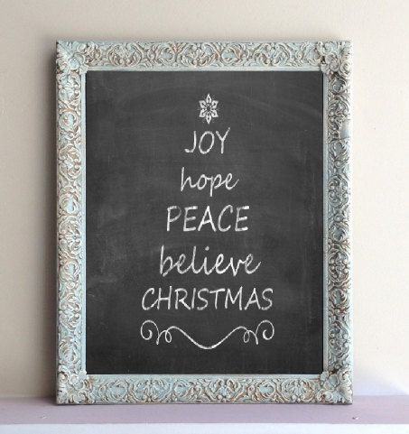 Blue Christmas Decor CHALKBOARD Gift Wall Decor Kitchen Organizer Distressed Home Decor Decorative Chalk Board Magnetic - ReADY to SHiP