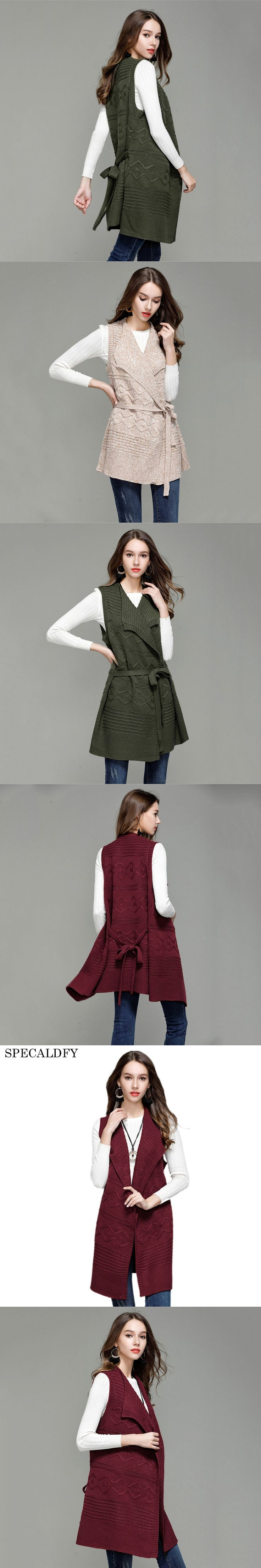 2017 Autumn Winter Long Cardigan Women Knitted Vest Coat Hooded Casual Sleeveless Jacket Female Cardigans Sweater Sashes