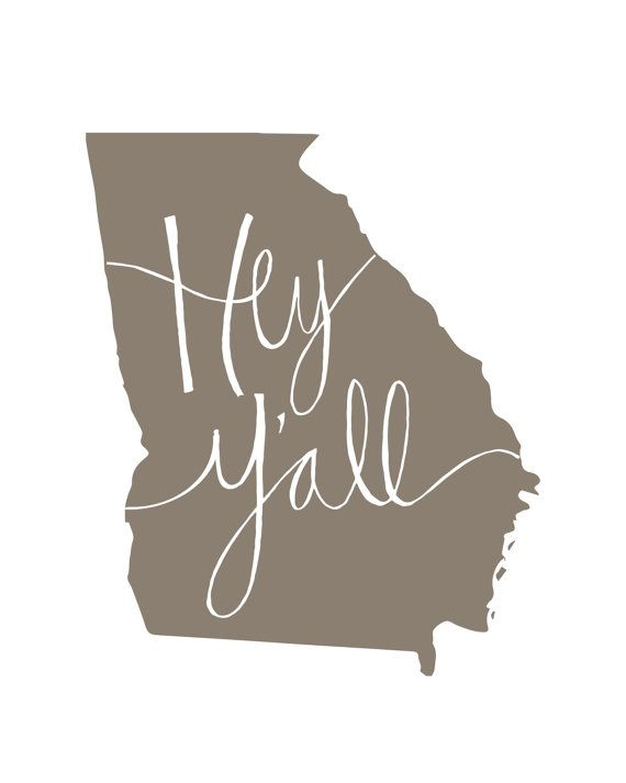 Georgia State Print Hey Y'all by EmilyPullen on Etsy