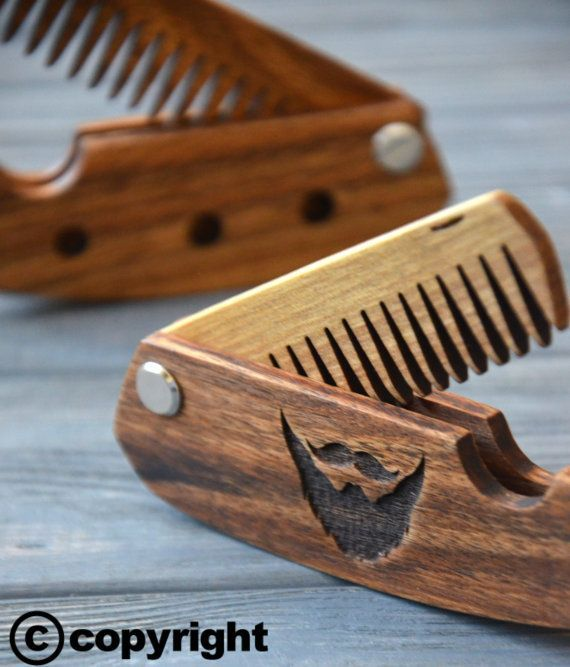 Folding comb Walnut Beard comb Personalized custom engraved wooden comb For men him. Fear the beard. Beard comb, moustache comb, hair comb #wooden #comb #giftforhim