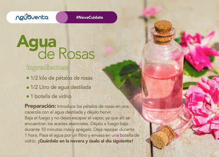 La frescura del agua de rosas te servirá como un tónico perfecto para tu piel . Aplícalo en las mañanas directamente en tu rostro o con un algodón, y limpia normalmente ¡Es muy sencillo y beneficioso! #NovaCuídate